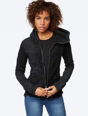 Hooded Fleece Jacket with Animal Print