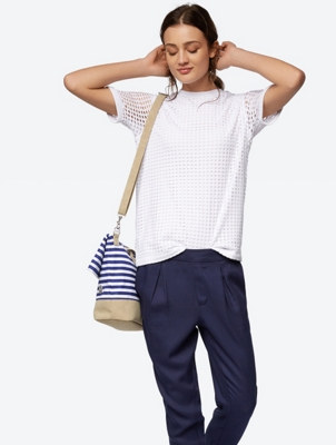 Two Layered T-Shirt with Perforated Pattern