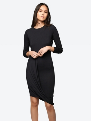 Softes Langarm-Kleid in Wickel-Optik