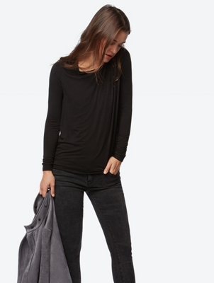 Plain Long-Sleeve Top with Gathered Details
