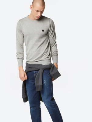 Classic Fine Knit Jumper with Ribbed Panels