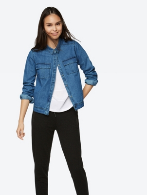 Lightweight Denim Jacket with Breast Pockets