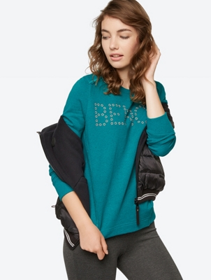 Embroidered Sweatshirt with Incorporated Nep Yarn