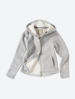 Knit Fleece Hoodie with Teddy Lining