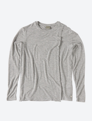 Long Sleeve Top with Double Layer Front Detail