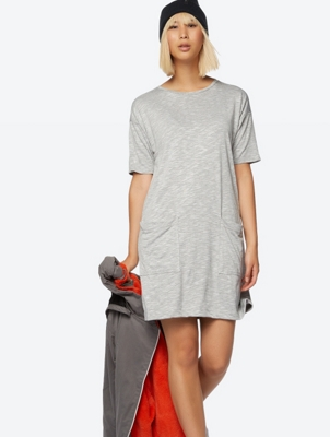 Short Sleeve Jersey Dress with Pockets