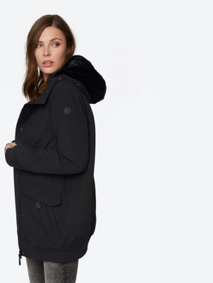 Long Line Insulated Bomber Jacket with Fur Hood