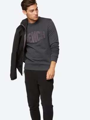 Crew Neck Sweater with Texture Logo Print