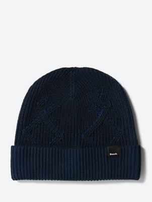 Two-Tone Beanie with Knit Pattern