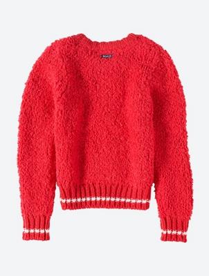 Unifarbener Pullover mit kontrastfarbenen Abschlüssen