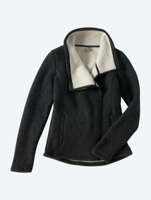 Knitted Fleece Jacket with Asymmetric Zip