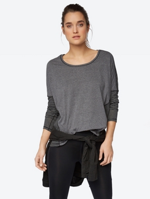 Marl Long Sleeve Shirt with Striped Back