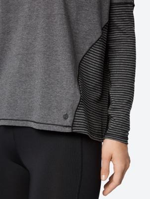 Fine Melange Long Sleeve Shirt with Striped Back