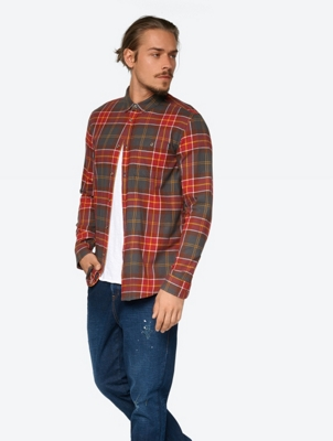 Checked Shirt with Button-Down Collar