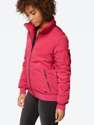 Bomber Jacket with Removable Fur Hood