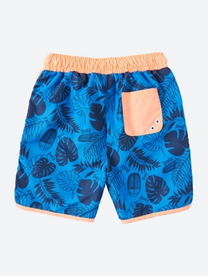 Patterned Swim Shorts with Contrast Details