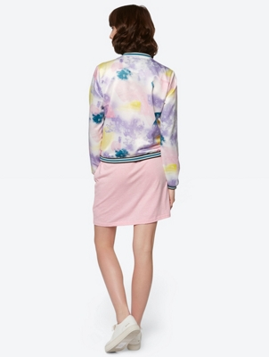 Patterned Bomber Jacket with Colour-Contrasting Cuffs
