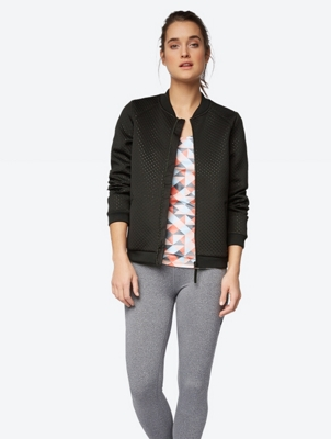 Polka Dot Bomber Jacket with 3D Texture