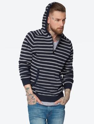 Gestreifter Pullover mit Kapuze