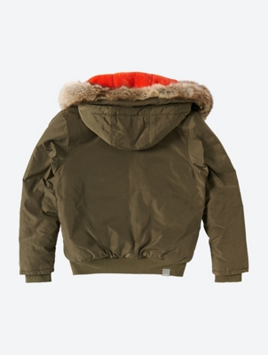 Hooded Bomber Jacket with Fleece Lining
