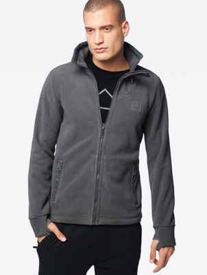 Fleece Jacket with Bench Logo on Standing Collar