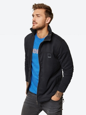 Sweat Jacket with Standing Collar and Bench Print on the Neck