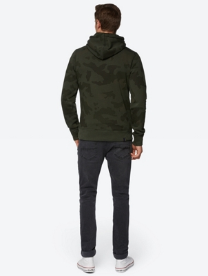 Hoodie with Camouflage Pattern and Brand Print on the Front