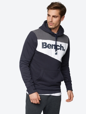 Hoodie in a Colour Blocking Design with Bench Print on the Front