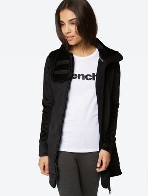Long Fleece Jacket with Standing Collar
