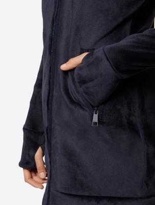 Lange Fleecejacke mit Klettverschluss am Stehkragen