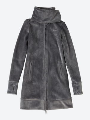 Long Fleece Jacket with Standing Collar