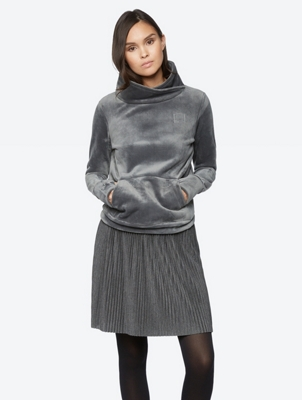 Fleece Jumper with Standing Collar in Wrapped Look