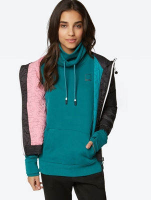 Sweatshirt with Double Standing Collar and Drawstring