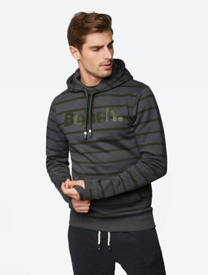 Striped Hoodie with Bench Print on the Front