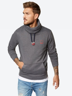 Sweatshirt with Shawl Collar and Drawstring