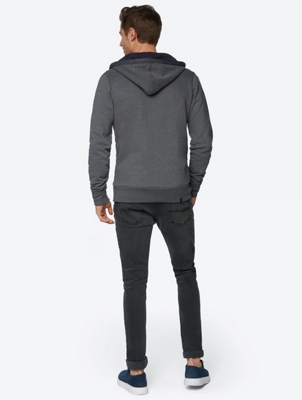 Sweat Jacket with Colour-Contrasting Lining in the Hood