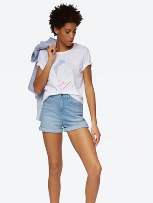 Denim Shorts with Used-Look Dye