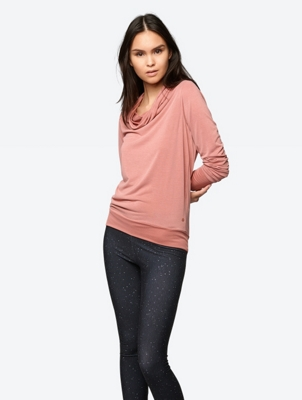 Soft Long Sleeve Top with Waterfall Neckline