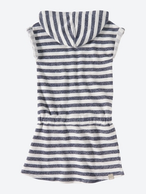 Striped Jersey Dress with Drawcord Waistband