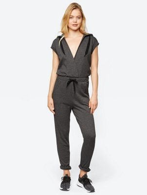 Short-Sleeve Jumpsuit with Deep V-Neck