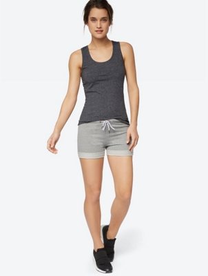 Melange Look High-waisted Shorts
