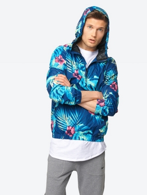 Lightweight Hooded Jacket Watersgatewell B with Tropical Print