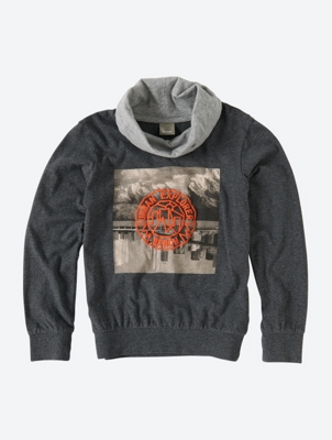 Graphic Sweatshirt with Shawl Collar