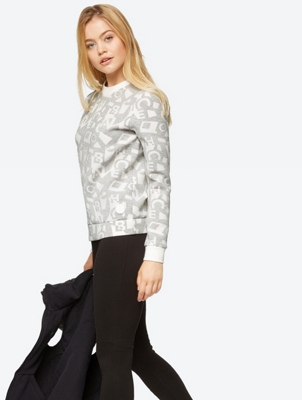 Patterned Sweatshirt with High Stretch Content