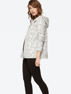 Patterned Sweat Jacket with Hood