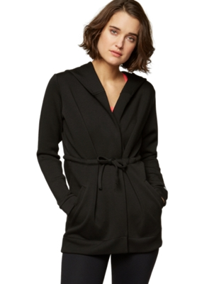 Jacket with an Open Cut and Tie Belt at the Waist