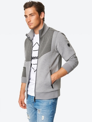 Mottled Sweat Jacket with Standing Collar
