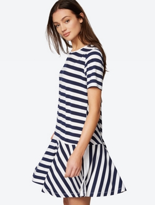 Striped Dropped Waist Jersey Dress
