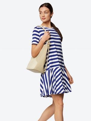 Striped Dropped Waist Jersey Dress