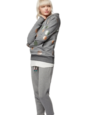 Hooded Sweatshirt with Shiny Polka Dots